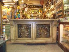 banana boat white and  darker tin...old  tin and  salvage.... great for store counter or  kitchen island