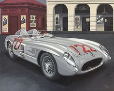 The fastest car ever at the Mille Miglia, driven by Stirling Moss at an average speed of 160 km/h and top speed of 275 km/h. Brescia-Rome-Brescia in 10 hours 7 minutes Mercedes Benz 300, 7 Minutes, Car Painting, Stirling, Fast Cars, Rome, Automobile, Paintings, Mauritius