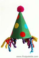 """Constuction paper party hat -- for Preschool Day!  Quick and easy craft for our """"party"""".  Used elastic thread for strings to keep them on.  The girls especially enjoyed these."""