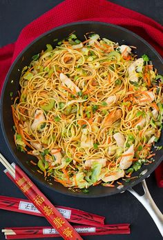 This chicken chow mein is just like what you get at your favorite Chinese restaurant, but it's made at home in under 25 minutes! This is a simple and satisfying entrée that is sure to please. It's a versatile recipe, and if you want to keep it more traditional, you can add in bean sprouts, or for more textures you could add in water chestnuts or sliced mushrooms. This will likely become one of your go-to dinner recipes because it's so easy to make yet it tastes delicious! My whole family…