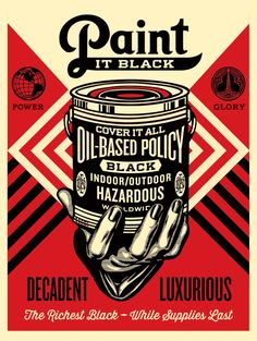 """Paint It Black – Hand"" Art Print by Shepard Fairey  (Onsale Info)"