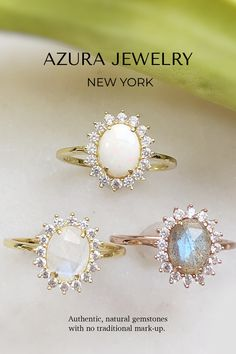 Azura Jewelry provides a collection of beautiful authentic, natural gemstone jewelry. You can choose from Opal Rings, Moonstone Rings, Labradorite Rings, and more! These gorgeous pieces are stackable and make the perfect everyday dainty jewelry, promise ring, or engagement ring. The bands are made with 14k Gold Vermeil but are also customizable in 10k and 14k Solid Gold. Our team does our best to make elegant designs for women with premium quality gemstones and accessible pricing. Shop… Labradorite Ring, Moonstone Ring, Opal Rings, Tanzanite Jewelry, Gemstone Jewelry, Dainty Jewelry, Jewelry Gifts, Pink Tourmaline Ring, Elegant Designs