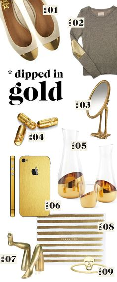 "ABSOLUTELY ADORE this ""dipped in gold"" selection from Wit and Delight! Definitely want those gold carafes."