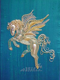 Goldwork Pegasus - kit available from www.golden-hinde.co.uk