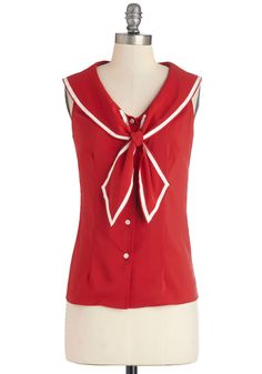 Tatyana/Bettie Page Sail Through My Dreams Top in Red | Mod Retro Vintage Short Sleeve Shirts | ModCloth.com