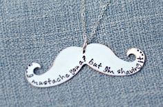 Personalized Mustache Necklace Hand Stamped by 3LittlePixiesShoppe, $29.00