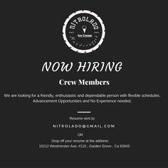We are hiring #Nitrolado #jobs #oc #joboc #orangecounty #gardengrove