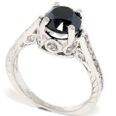 2.69CT Black Diamond Vintage Style Engagement Ring 14K White Gold SZ (4-10), (engagement rings, black diamond, unique, bell jewelers, engagement ring, princess cut, size 9, wedding band, wedding set, white gold)