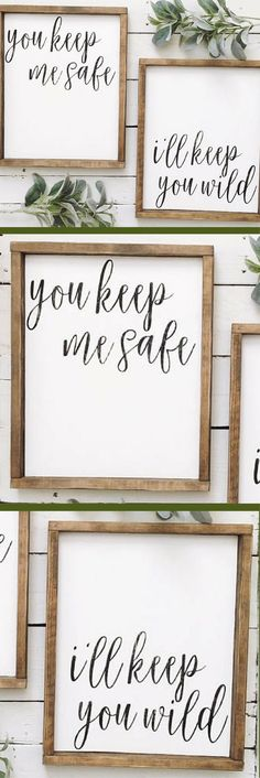 You keep me safe, I'll keep you wild wood sign set, Rustic bedroom art, wedding gift, shower gift, farmhouse decor, home decor,. rustic decor #ad #affiliatelink