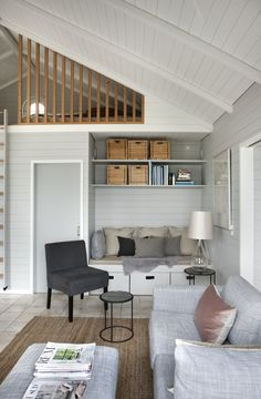 Beach House Inspiration - interior of a small living room… Small Space Living, Small Spaces, Living Spaces, Summer House Interiors, Cabin Interiors, Small Summer House, Beach House Decor, Home Decor, Style At Home