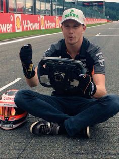 """Hulkenberg:""""Since I've been the 1st out at the last two Grand Prix's, I figure I try it without the car at Monza! At least I won't break down or have my front wing fall off!"""""""