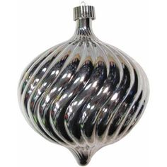 Looking Glass 150mm Shatterproof Swirled Onion Christmas Ornament, Silver