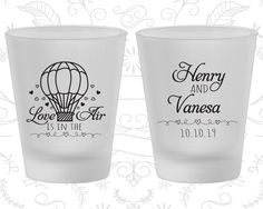 Love is in the Air Wedding, Personalized Frosted Glasses, Hot Air Balloon Wedding, Love Wedding, Frosted Shot Glass (225)