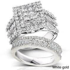 Annello 14k Gold 2 4/5ct TDW Diamond Halo Bridal Ring Set (H-I, I2-I3) | Overstock.com Shopping - The Best Deals on Bridal Sets