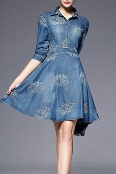 Embroidered Denim Fit & Flare Dress