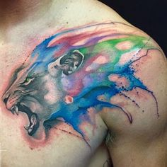 the 112 best watercolor tattoos for men improb Tatoos For Men Arm, Sleeve Tattoos For Women, Tattoos For Guys, Arrow Tattoos, Rose Tattoos, Body Art Tattoos, Tribal Tattoos, Lion Tattoo Design, Tattoo Designs Men