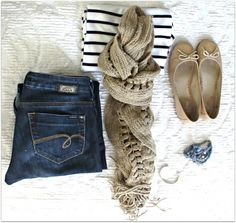 Striped tee, jeans, flats and simple accessories.