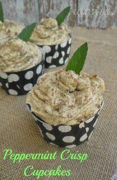 Peppermint Crisp Cupcakes ~ Rich, moist Chocolate Cupcakes, filled with Caramel and a frosting which tastes just like a Peppermint Crisp Tart ! www.WithABlast.net