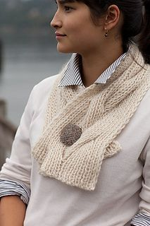 This short cabled scarf knit in a bulky weight yarn makes a great, quick gift project. Knit it in a fuzzy  alpaca blend like Berroco Kodiak for a very warm scarflette she will definitely wear.