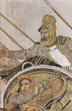 Details of  The Alexander Mosaic, depicting the battle of Alexander the Great and Darius III of Persia