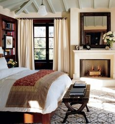 Cindy Crawford Bedroom, Michael Smith design featured in Elle Decor (via Friesh American). Absolutely love this—warm, rich, relaxed. Great inspiration for master bedroom. Cozy Bedroom, Dream Bedroom, Bedroom Decor, Bedroom Ideas, Bedroom Designs, Pretty Bedroom, Bedroom Ceiling, Decor Room, Bedroom Romantic