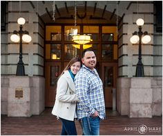 A winter engagement photoshoot outside of Union Station in Denver, Colorado. - April O'Hare Photography http://www.apriloharephotography.com  #DenverEngagement #WinterinDenver #urbanengagement #urbanphotos #DenverUrbanPhotos #CrawfordHotel #UnionStationDenver #UnionStation