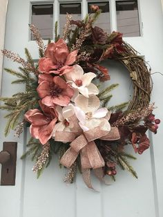 Coral Magnolia Grapevine Christmas Wreath for Door. Wreaths, wreaths for front door, grapevine, farmhouse Grapevine Christmas, Christmas Wreaths For Front Door, Easter Wreaths, Holiday Wreaths, Grapevine Wreath, Christmas Decorations, Prim Christmas, Christmas Trees, Wreath Crafts