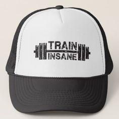 Train Insane - Barbell Gym Workout Inspirational Trucker Hat - accessories  accessory gift idea stylish unique e5b3a327d440