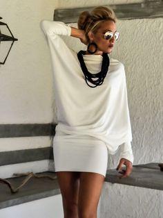 Ivory Asymmetric Dress Blouse Tunic Plus Size Dress Asymmetric Plus Size Dress-Blouse-Tunic Plus Size Party Dresses, Plus Size Outfits, Plus Size Blouses, Plus Size Tops, Big Size Fashion, Dress Outfits, Fashion Outfits, Diy Dress, Big Size Dress