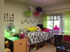 single dorm room at Michigan State, Just moved my daughter in for her sophomore year.  This is her new single room decorated with zebra, lime green, and hot pink.  Think it turned out nice and she is happy, Dorm Rooms Design
