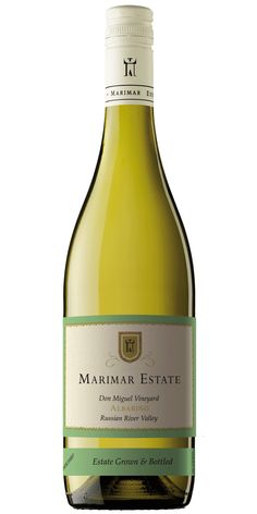 Marimar Estate Albariño: Albariño has been known to produce outstanding wines in the cool climate of Galicia, in North West Spain. We first planted it in our Sonoma Coast vineyard, but that proved too cold for ripening even a cool-climate variety like this. After 4 years, we gave up and grafted the budwood from those vines onto our slightly warmer Russian River Valley estate. We are very excited that it seems to be thriving in our Don Miguel Vineyard!