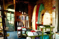 I walked into my first Mollusk Surf Shop while skating the Venice Beach boardwalk in Los Angeles in I was escaping New York City's wi. Shop House Plans, Shop Interiors, Venice Beach, Beach Cottages, Surf Shop, Retail Design, Wall Design, Living Spaces, Surfing