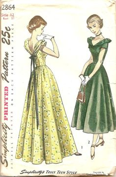 1940's Vintage Dress Sewing Patterns Gown Prom by TenderLane