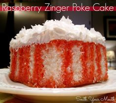 Raspberry Zinger Poke Cake! White cake with raspberry drizzle topped with whipped coconut topping.