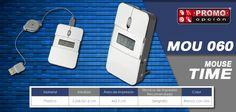 El artículo del día es el MOU 060 MOUSE TIME MOUSE TIME (Mouse con reloj, despertador, luz interna y fecha. Incluye cable retráctil (76 cm), baterías y caja individual.) Conoce más de él en www.promoopcion.com Material: Plástico Medida: 5.2 x 8.5 x 1.6 cm Área de impresión: 4.2x2 cm Técnica de impresión recomendada: Serigrafía Color: Blanco con Gris  CONSULTA EXISTENCIAS Y PRECIOS CON TU EJECUTIVA DE CUENTA.