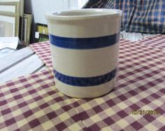 "Vintage  Roseville Ohio RRP Indigo & Ivory Stoneware Pottery Crock Utensil Holder Kitchen Decor Blue Striped 5"" tall"