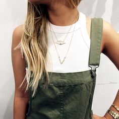 Cool fresh shades of neutrals + greens. Tank + light cotton bottoms.