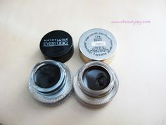 Comparison/review of 2 drugstore gel eyeliners: Maybelline EyeStudio & L'Oreal Infallible Gel Lacquer.