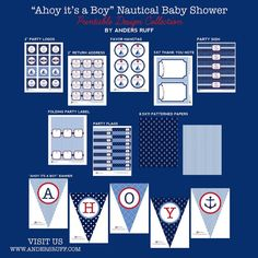 Ahoy It's A Boy Nautical Baby Shower by arpartyprintables on Etsy
