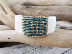 White and gold macrame bracelet,Greek ancient symbol,Meander symbol wristband,Metallic gold waxed thread,Boho macrame cuff,Macrame Jewelry by What2WearByNana on Etsy