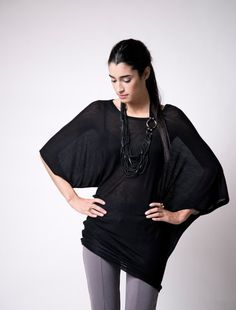 Long Top / See Through Tunic / Yoga Top / Black Shirt / Oversize Lagenlook Blouse / Short Dress / Sheer Blouse / marcellamoda - MB010