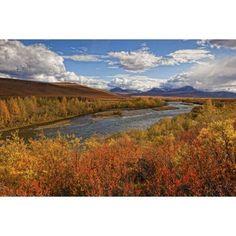 Upper Blackstone River Flowing North Along The Demspter Highway In Autumn Yukon Canada Canvas Art - Robert Postma Design Pics (19 x 12)