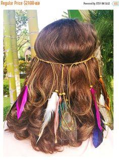 ON SALE till XMAS Feathers Headband Hairband by TacosAndTequila