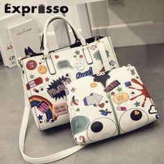 2017 Fashionable Women  Flower Handbag PU Leather Shoulder Bags Big Capacity Crossbags Ladies Functional Crossbags