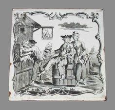 """Sailors Farewell"" fireplace or wall tile  John Sadler (printer)  Liverpool, England; 1757–61  Earthenware (delftware)  Inscribed ""K. of Prussia"" (inn sign)  Bequest of Henry Francis du Pont 1961.944"