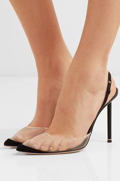 Alexander Wang - Alix mesh and suede slingback pumps Clear Strap Heels, Clear Shoes, Sexy High Heels, Best Sneakers, Sneakers Fashion, Alexander Wang, Transparent Heels, Slingback Pump, Black Pumps