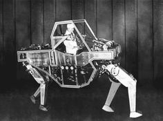In the 1960s, GE engineers developed the Cybernetic Anthropmorophous Machine, or Walking Truck. In 1966, the US Army awarded GE a contract for building the experimental vehicle. However, its hand and foot controls not only fatigued operators, but were impractical for prolonged use on the battlefield, so the project was discontinued. Kevin Weir at flux machine recently reanimated the Walking Truck so the mechanical beast could gallop once more