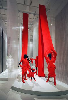 BOLD! DRAMATIC! Relatively easy and very adaptable. red colour display fashion store