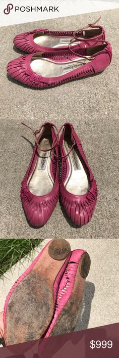 Pour la Victorie pink flats Pink leather flats with ankle strap made in Brazil Pour la Victoire Shoes Flats & Loafers