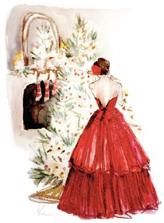 illustration by Katie Rodgers of Paper Fashion Christmas Paper, Vintage Christmas Cards, Christmas Pictures, Christmas And New Year, All Things Christmas, Christmas Time, Merry Christmas, Elegant Christmas, Christmas Scenes